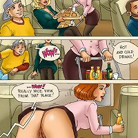 Comics with mom helping son get off after plane sex gone wrong