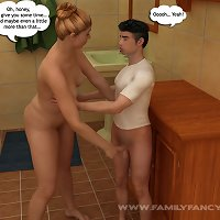 Little boy gets it on with his seductive mommy in a  bathroom