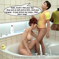 3D artwork with son stuffing his gorgeous redhead mom in a tub
