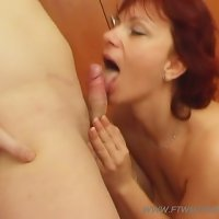 Sweet milf goes for a long tough ride on top of her virgin son's hard dick