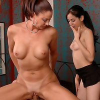 Vanessa teaches this Daughter how to ride cock