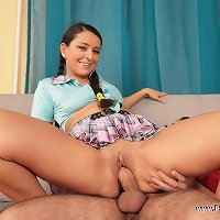 Petite teenage brunette tries getting it on with her well-hung older brother