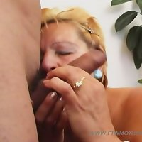 Old blonde plumper shakes her huge ass on top of her virgin son's love pole